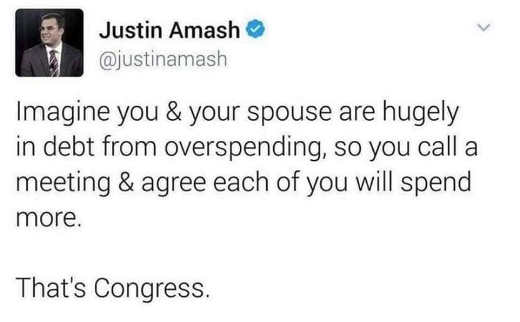 tweet justin amash imagine you spouse overspending both call meeting agree to spend more