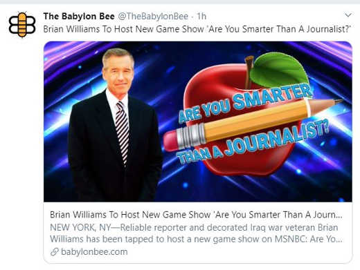 babylon bee are you smarter than a journalist brian williams host