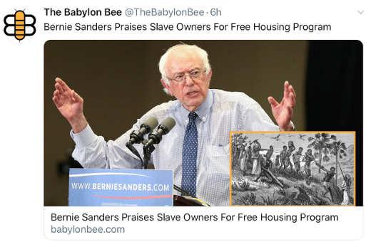 babylon bee bernie sanders praise slave owners for free housing