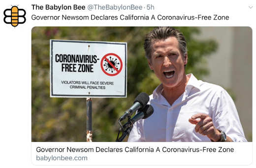 babylon bee newsom declared coronovirus free zone