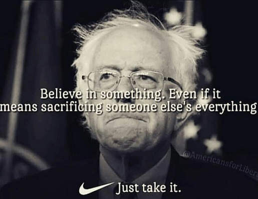 believe in something even if it means taking someone elses everything nike bernie sanders