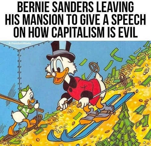 bernie sanders leaving his mansion to talk about how evil capitalism is duck money gold