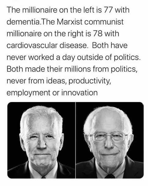 bernie sanders vs joe biden millionaire marxist communist insiders disease dementia