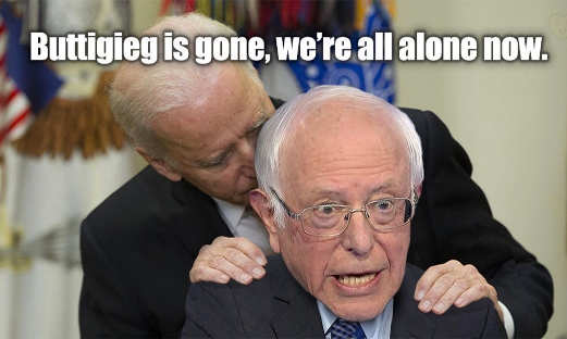 biden buttigieg is gone were alone now bernie sanders