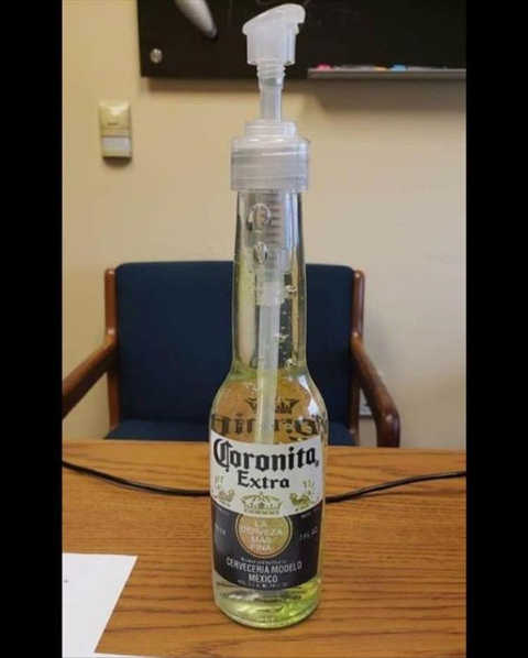 corona hand sanitizer bottle