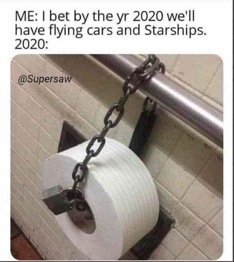 i bet by 2020 we will have flying cars and sharships actual toilet paper chained