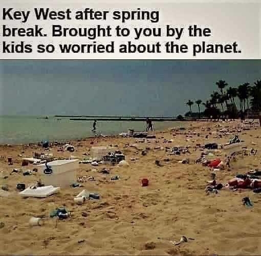 key west spring break garbage by kids worried about planet