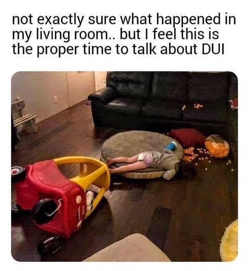 kid crash not exactly sure proper time to talk about dui