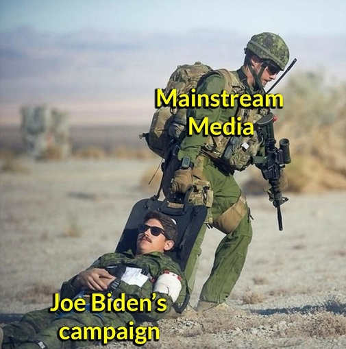 mainstream media soldier dragging joe bidens campaign