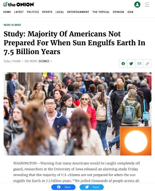 onion majority of americans not prepared for when sun engulfs earth 7..5 billion years from now