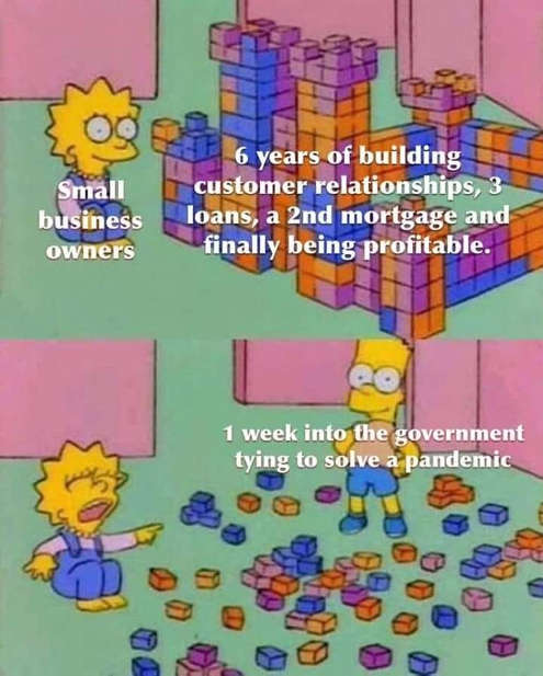 simpsons small business owners mortgage years built destroyed 1 week government pandemic