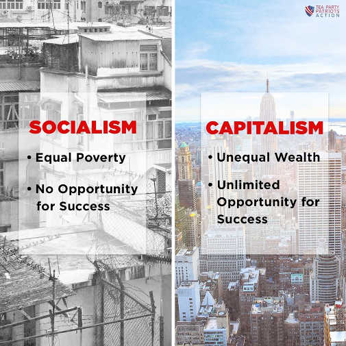 socialism equal poverty no opportunity capitalism unequal wealth unlimited opportunity for success