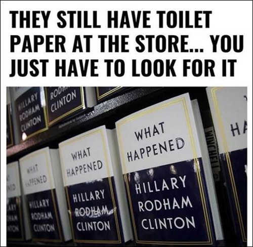 toilet paper still in store hillary clinton book