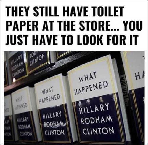 toilet paper still in store hillary clinton book