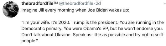 tweet imagine every morning waking up jill biden talking to joe
