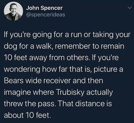 tweet john spencer if going for run 10 feet away picture bears wide receiver trubisky pass