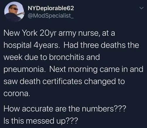 tweet ny deplorables 3 deaths bronchitis pneumonia changed to corona how accurate numbers