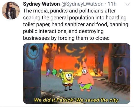 tweet watson media pundits politicians corona patrick sponge bob burning saved city