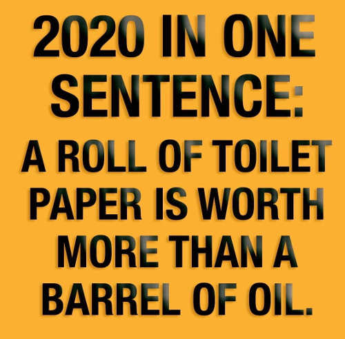 2020 in one sentence roll of toilet paper worth more than barrel of oil