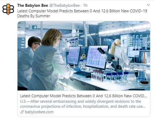 bablylon bee latest computer model predict between 0 and 12.6 billion dead covid