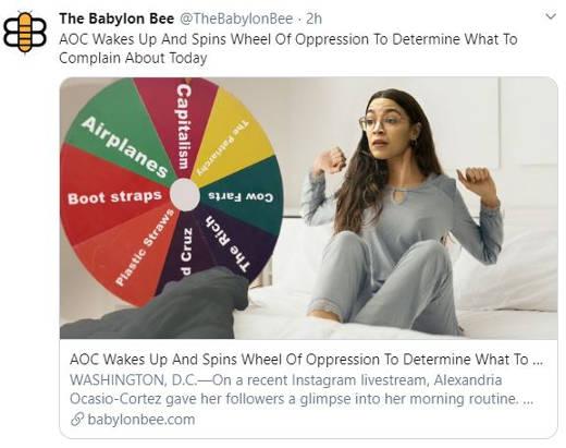 babylon bee aoc spins wheel of oppression ocasio cortez morning routine