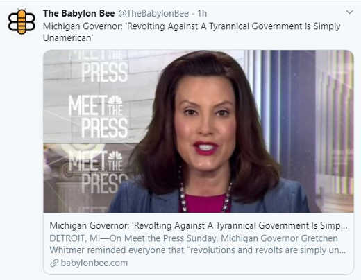 babylon bee michigan governer whitmen revolting against tyrannical government unamerican