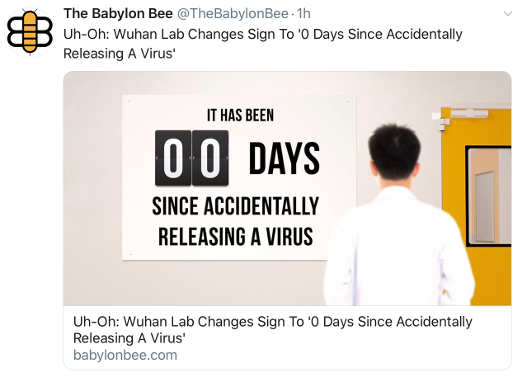 babylon bee wuhan lab sign 0 days since accidentally releasing a virus