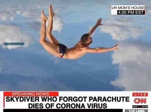 cnn skydiver who forgot parachute dies of corona virus