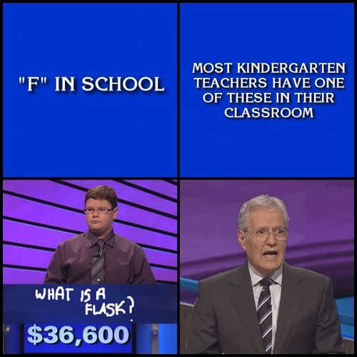 f in school most kindergarten teachers have one in classroom flask jeopardy