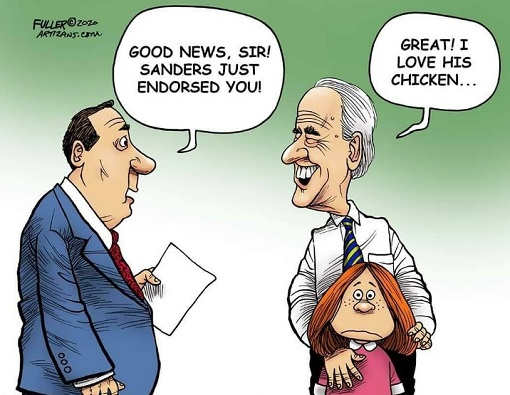 good news joe biden sanders just endorsed you great love his chicken