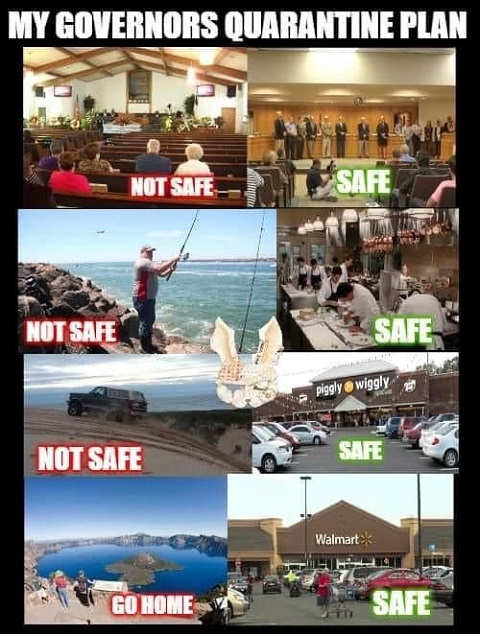 governors quarantine plan fishing lake church not safe government wal mart safe