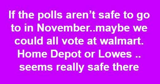 if polls arent safe in november maybe we can vote walmart lowes home depot