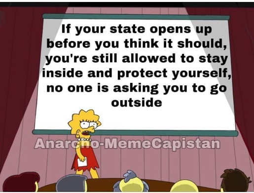 lisa simpson if your state opens before you think it should youre still allowed to stay inside