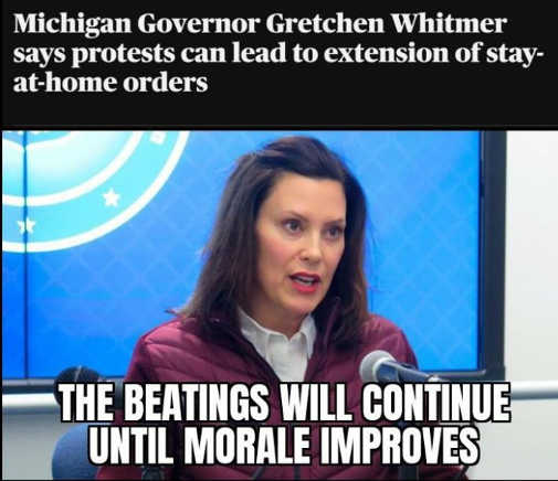 michigan governor whitmer says protests lead to extension of stay at home orders beating continue morale improves