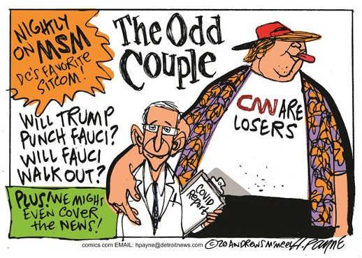 nightly on mainstream media odd couple cnn losers trump fauci