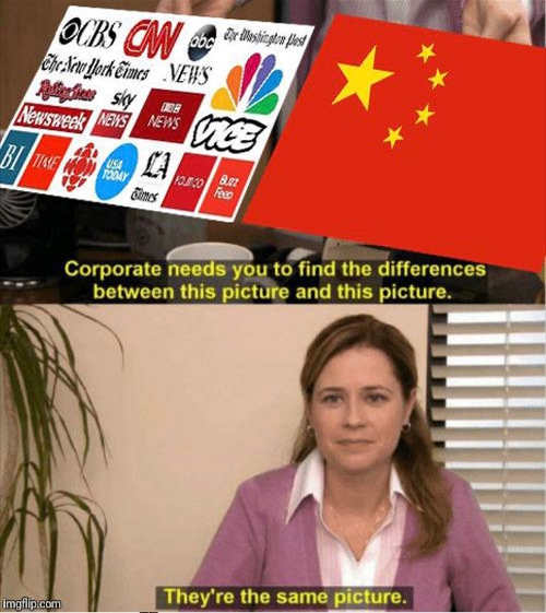 office corporate difference in pictures media cnn abc nyt post vice newsweek msnbc china flag theyre the same
