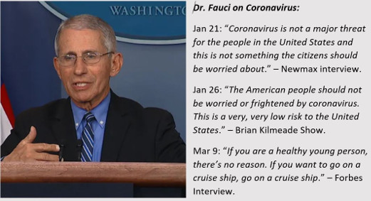 quotes fauci coronavirus not major threat americans shouldnt be worried go on cruise ship