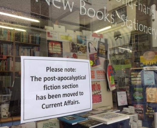 sign post apocalyptical fiction section moved to current affairs