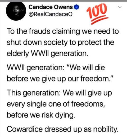 tweet candace owens frauds claiming shutdown society ww ii generation cowardice dressed as nobility