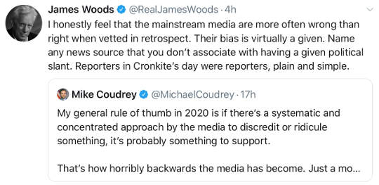 tweet james woods mainstream media bias mike coudrey