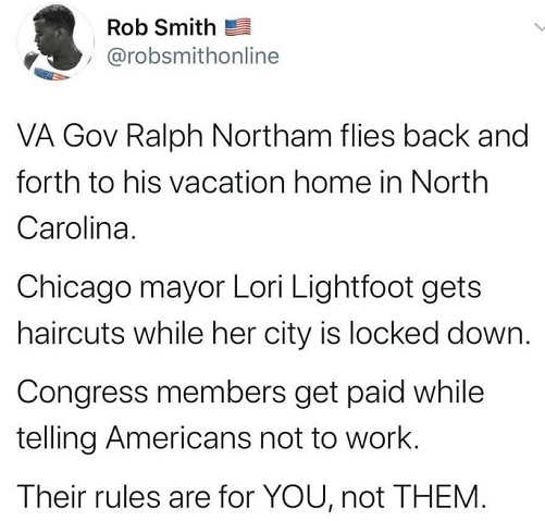 tweet rob smith northam lightfood congress rules are for you not them