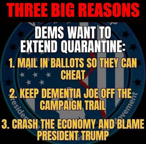 3 reasons democrats want to extend quarantine cheat mail in ballots keep biden off trail crash economy blame trump