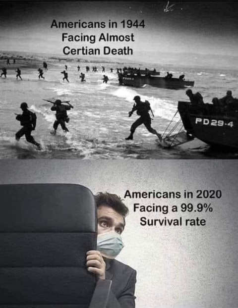 americans facing certain death 1944 dday now americans 2020 99.9 survival rate cowering