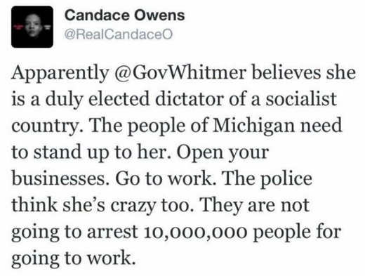 candace owens tweet banned whitmer big tech fascism