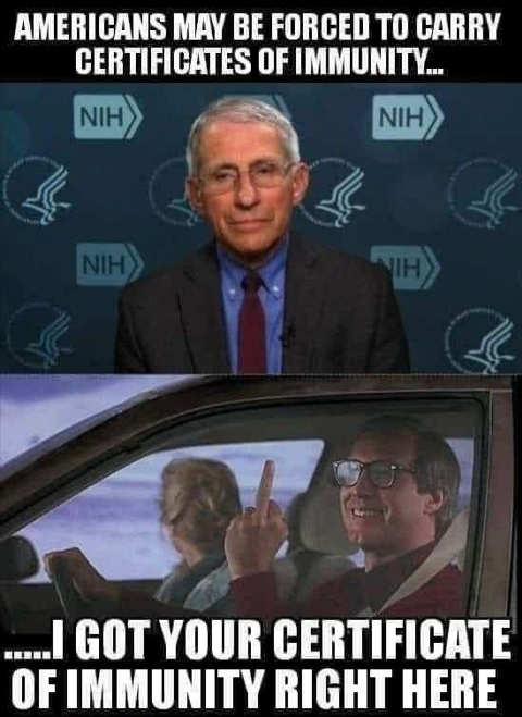 dr fauci americans may be forced to carry certificates of immunity flipping bird