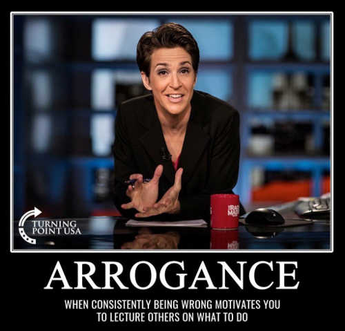 maddow arrogance when consistently being wrong motivates you to lecture others what to do