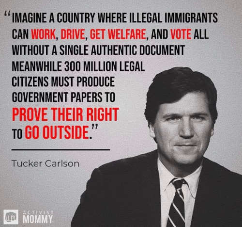 quote tucker carlson imagine country where illegal immigrants can work vote without document