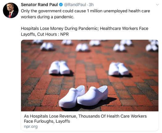 tweet rand paul only government can cause 1 million health workers lose job in pandemic