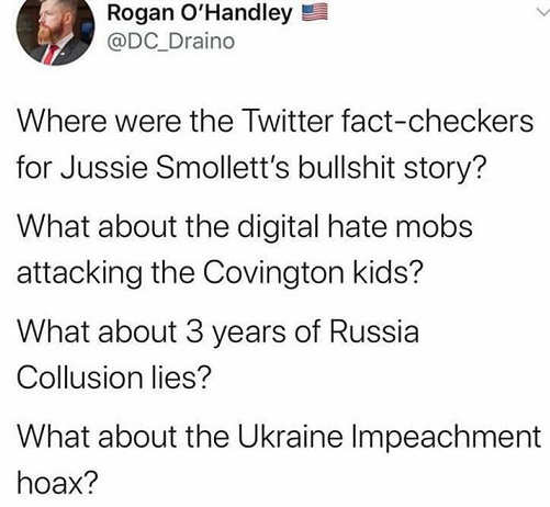 tweet where were twitter fact checkers jussie smollett covington kids russia collusion