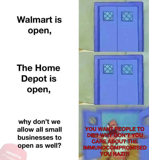 walmart home depot open why not small businesses you want people to die nazi